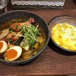 99951457 - チキンと野菜のスープカレー   とろーりチーズonライスと半熟カレー味玉をトッピング