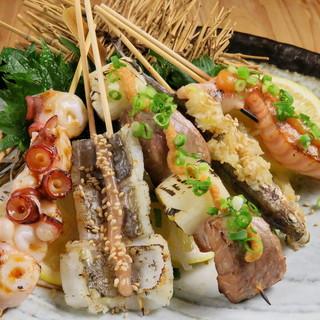 魚串(うおくし)、刺身、海鮮茶漬けなど魚料理充実!