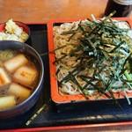 大川屋 - 料理写真:付け合わせのほうれん草もつけ汁に良く合う。薬味はわさびでは無く生姜。