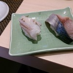江戸前 びっくり寿司 - 生サバと生剣先ゲソ