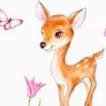 子鹿とチューリップ